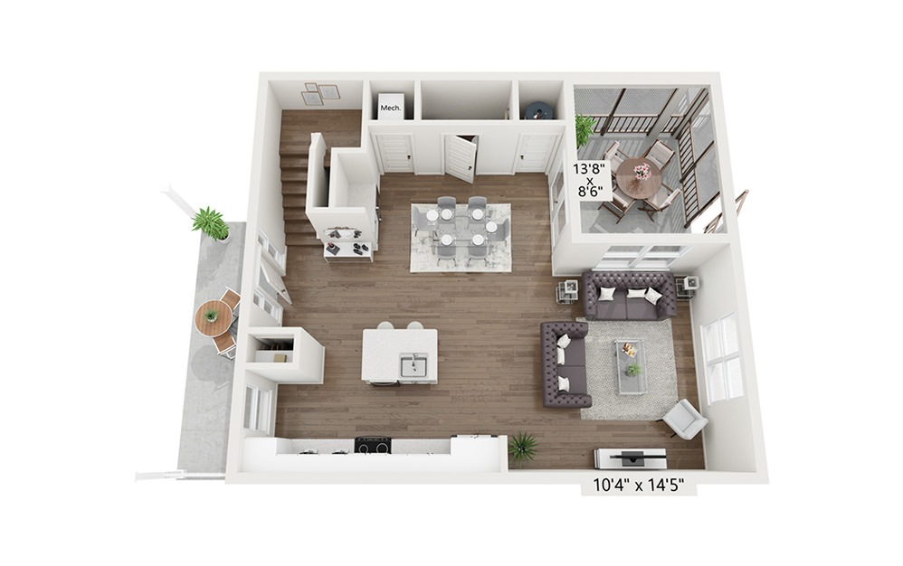 Pyrenees - 2 bedroom floorplan layout with 2.5 baths and 1620 square feet. (Floor 1)