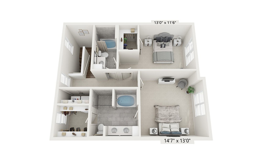 Pyrenees - 2 bedroom floorplan layout with 2.5 baths and 1620 square feet. (Floor 2)
