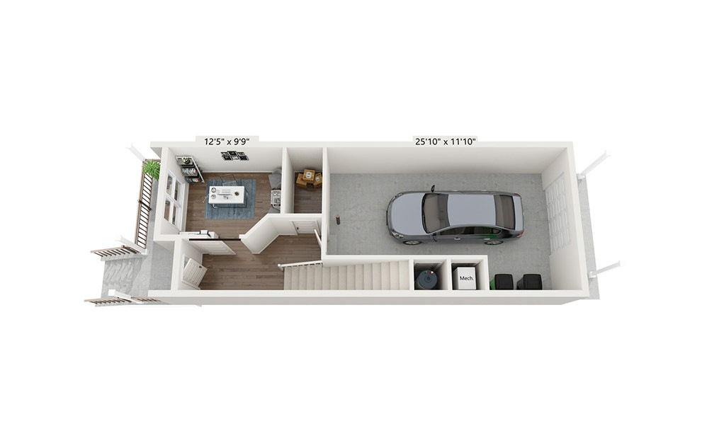 Redwood - 2 bedroom floorplan layout with 2.5 baths and 1675 square feet. (Floor 1)