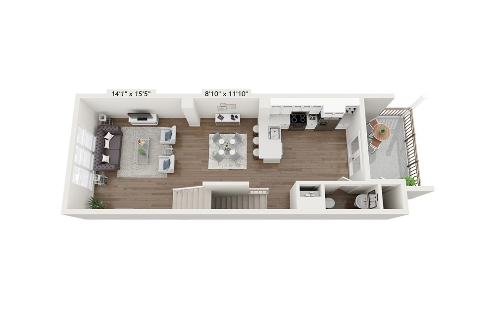 Redwood - 2 bedroom floorplan layout with 2.5 baths and 1675 square feet. (Floor 2)