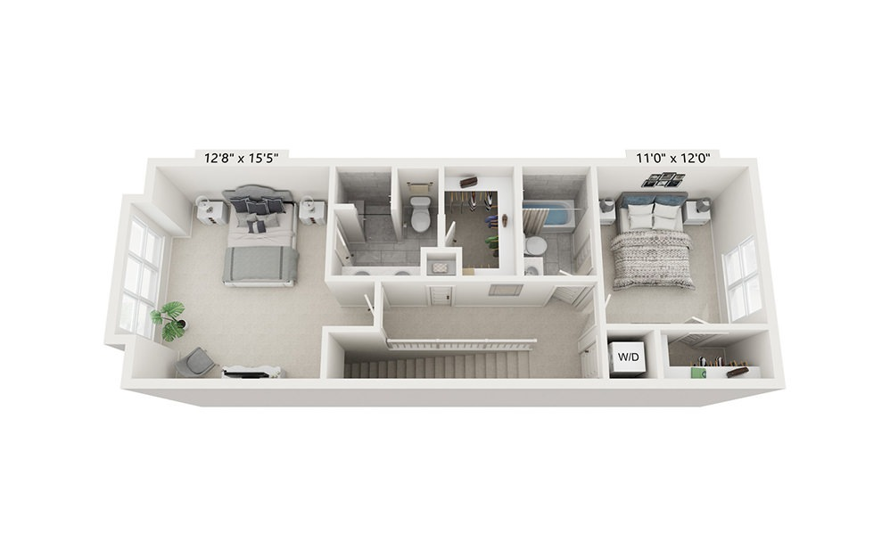 Redwood - 2 bedroom floorplan layout with 2.5 baths and 1675 square feet. (Floor 3)