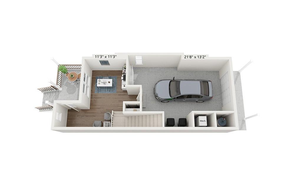 Belle Isle - 2 bedroom floorplan layout with 2.5 baths and 1816 square feet. (Floor 1)