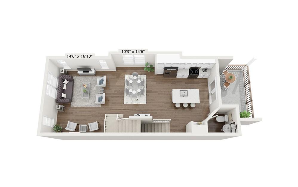 Belle Isle - 2 bedroom floorplan layout with 2.5 baths and 1816 square feet. (Floor 2)