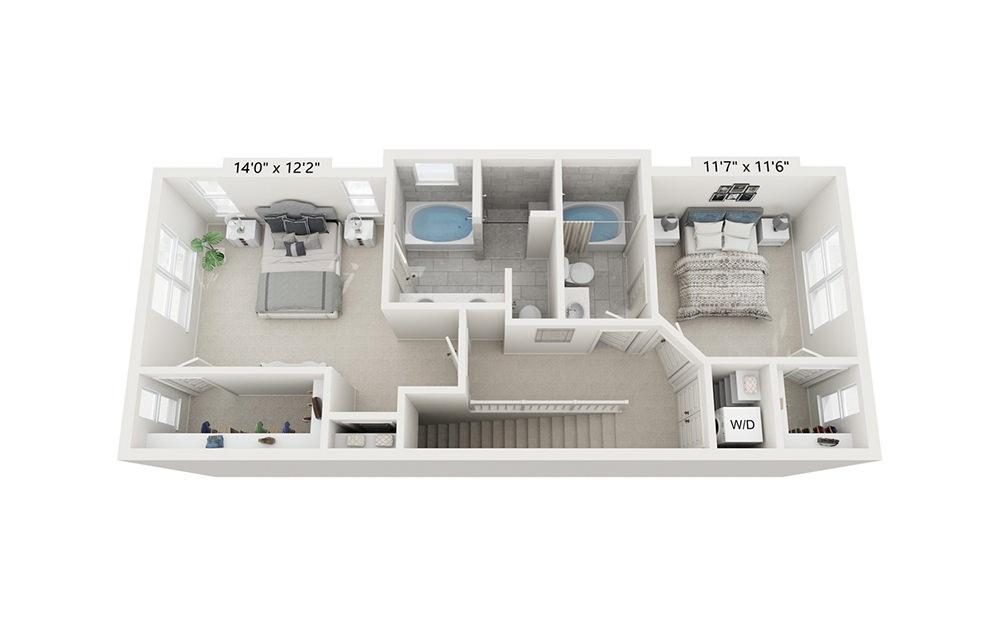 Belle Isle - 2 bedroom floorplan layout with 2.5 baths and 1816 square feet. (Floor 3)