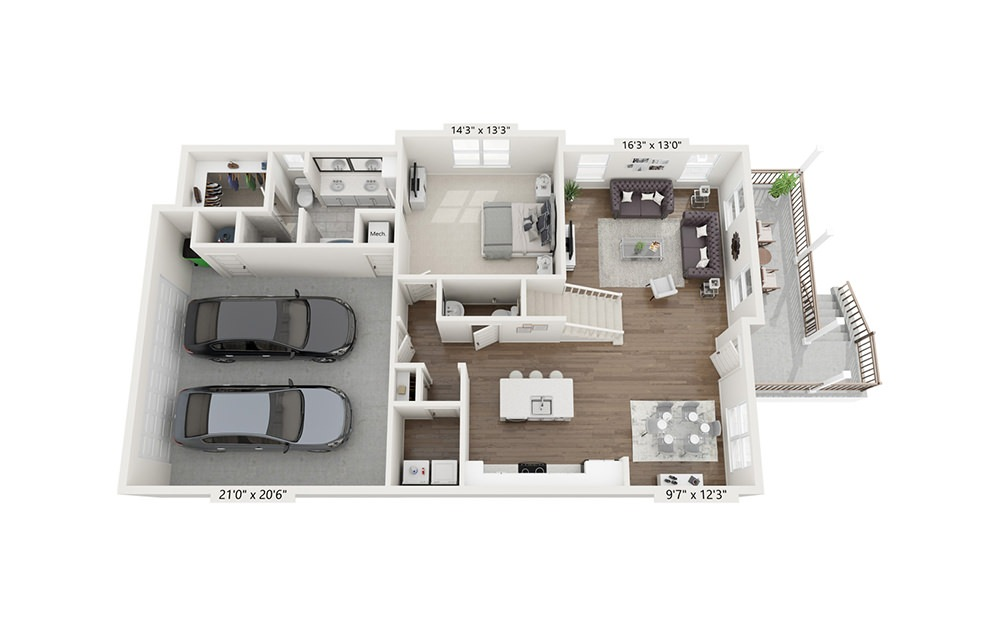 Franconia - 3 bedroom floorplan layout with 3.5 baths and 1918 square feet. (Floor 1)