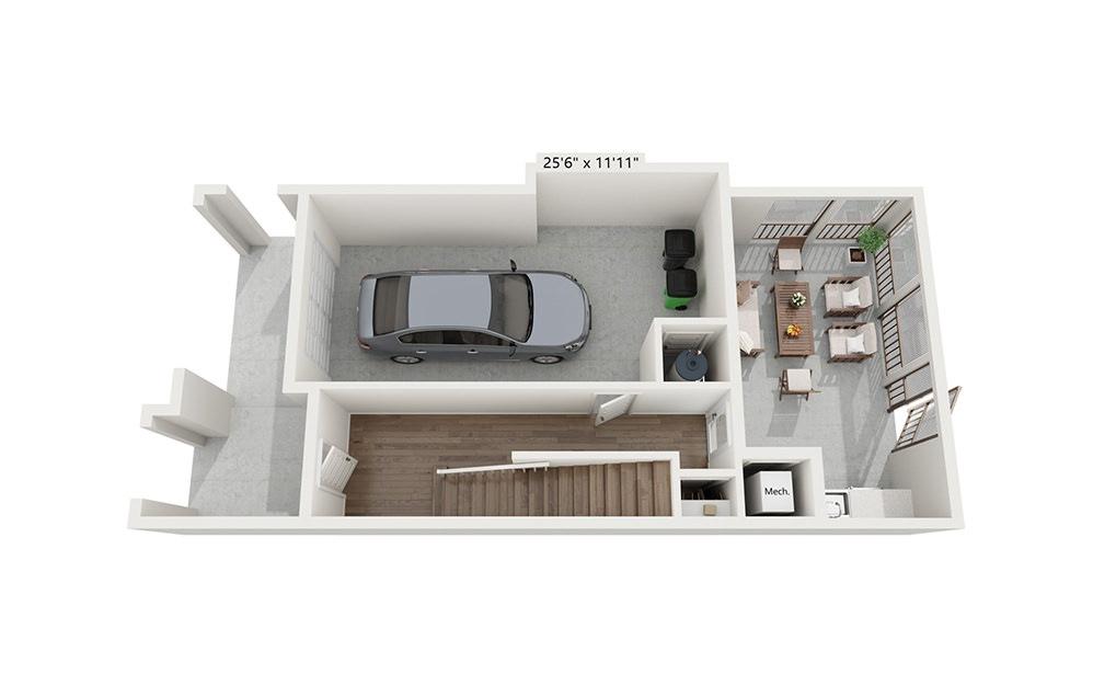 Makoshika - 3 bedroom floorplan layout with 2.5 baths and 1953 square feet. (Floor 1)