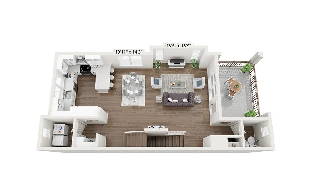 Makoshika - 3 bedroom floorplan layout with 2.5 baths and 1953 square feet. (Floor 2)