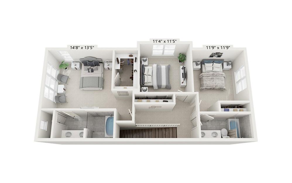 Makoshika - 3 bedroom floorplan layout with 2.5 baths and 1953 square feet. (Floor 3)