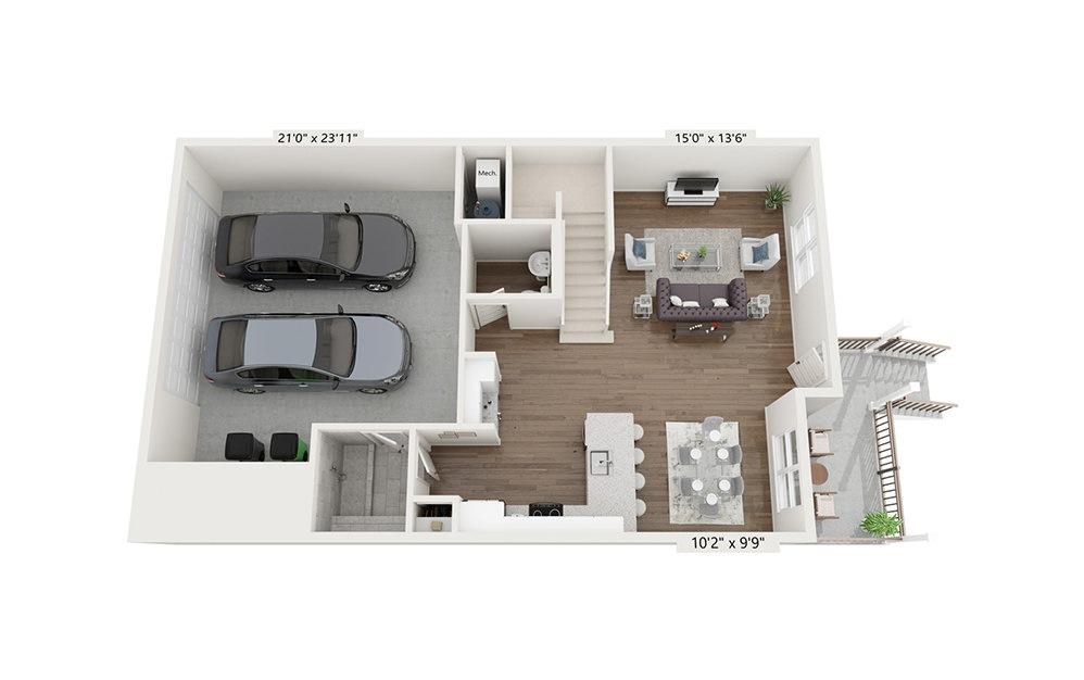 Serengeti - 3 bedroom floorplan layout with 2.5 baths and 1976 square feet. (Floor 1)