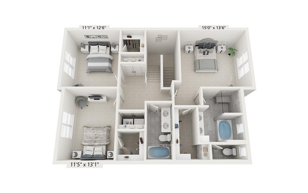 Serengeti - 3 bedroom floorplan layout with 2.5 baths and 1976 square feet. (Floor 2)