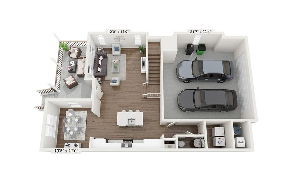 Niagra - 3 bedroom floorplan layout with 2.5 baths and 2037 square feet. (Floor 1)