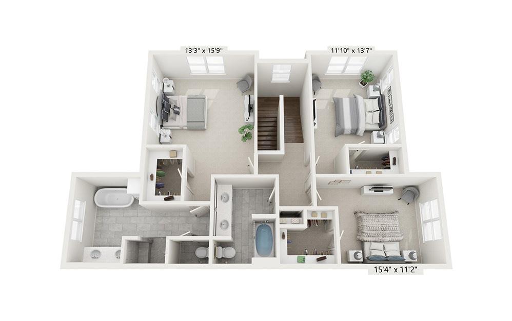 Niagra - 3 bedroom floorplan layout with 2.5 baths and 2037 square feet. (Floor 2)