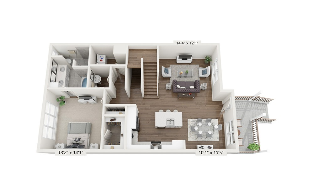Spyglass Hill - 3 bedroom floorplan layout with 3.5 baths and 2058 square feet. (Floor 2)