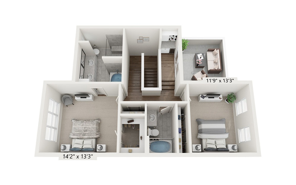 Spyglass Hill - 3 bedroom floorplan layout with 3.5 baths and 2058 square feet. (Floor 3)