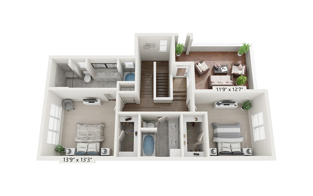 Mount Mitchell - 3 bedroom floorplan layout with 3.5 baths and 2083 square feet. (Floor 3)